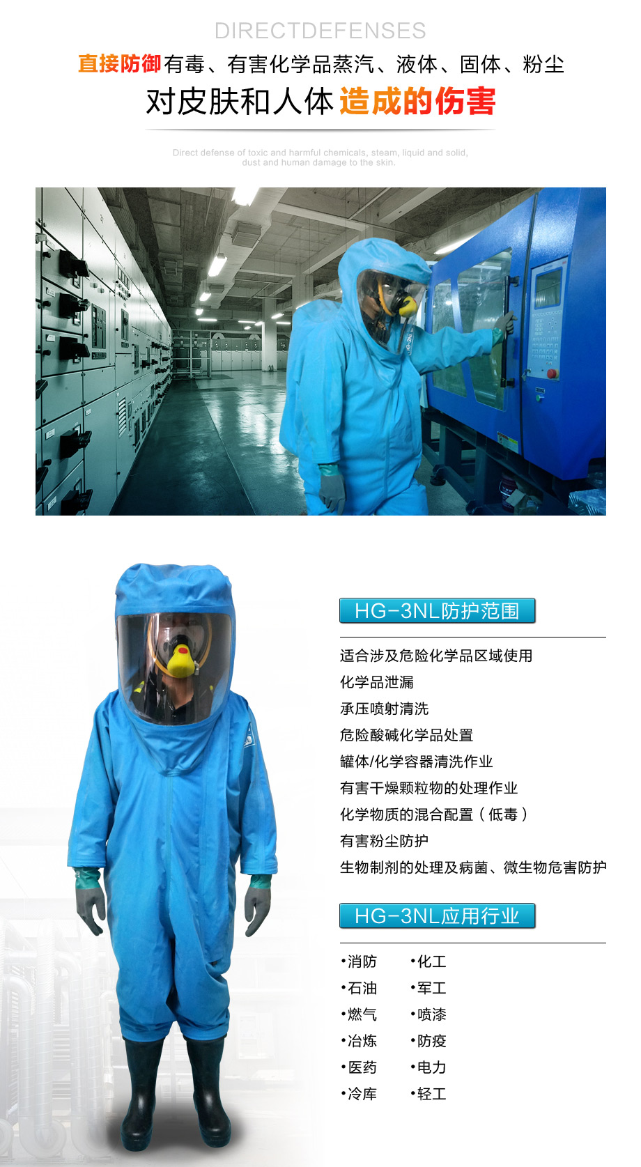 海固3nl重型防化服可适用于化学品处理、冷库作业等多种环境